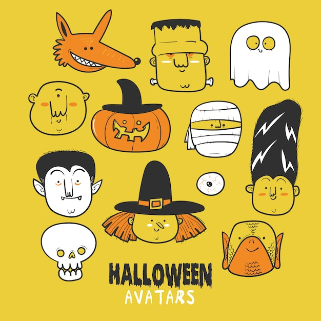 Halloween tekenset pictogram of avatars Premium Vector