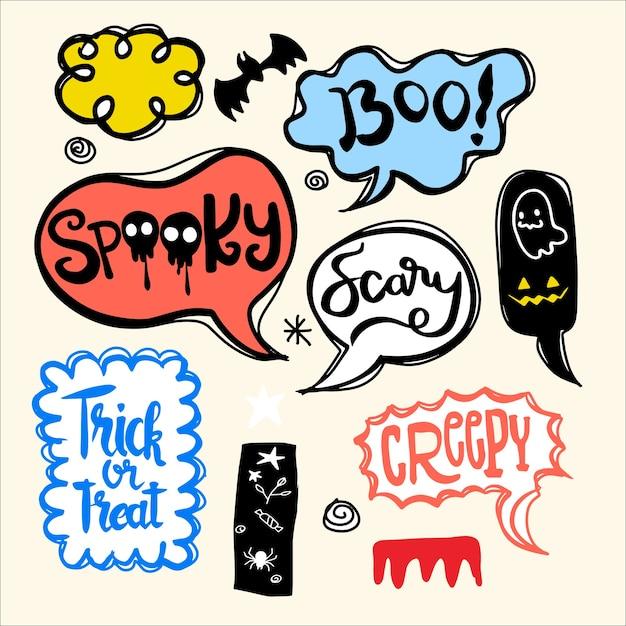 Halloween-tekstballonnen die met tekst worden geplaatst: spookachtig, truc of bedreiging, griezelige, enge enz. geïsoleerde illustratie Premium Vector