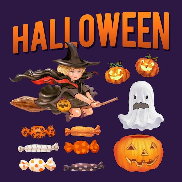 Halloween thema illustratie set Gratis Vector