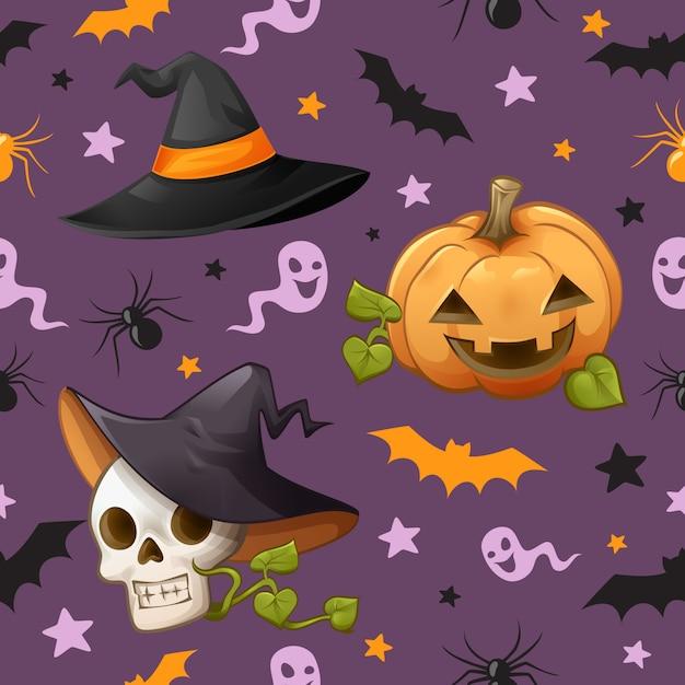 Halloween-thema naadloos patroon Premium Vector