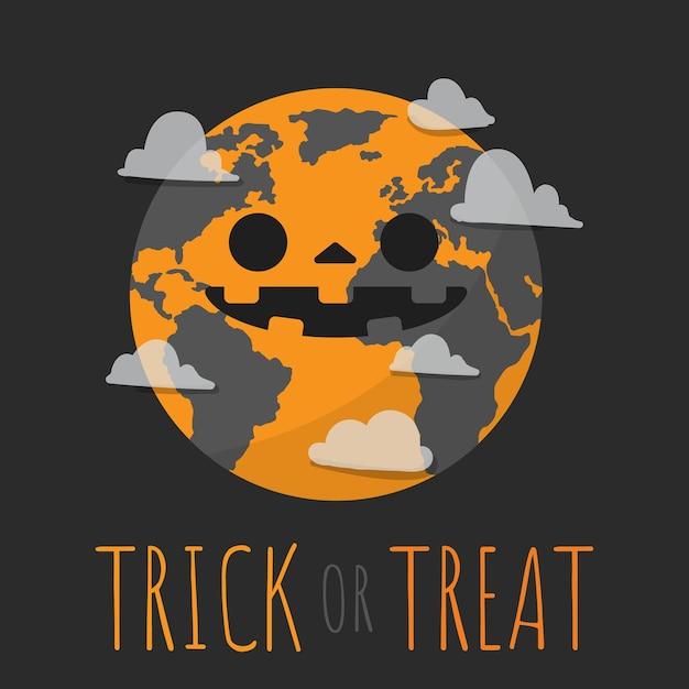 Halloween, trick or treat with earth in halloween costumed. Premium Vector