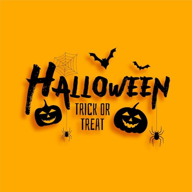 Halloween-truc of trat-kaart met vleermuizen en enge pompoenen Gratis Vector