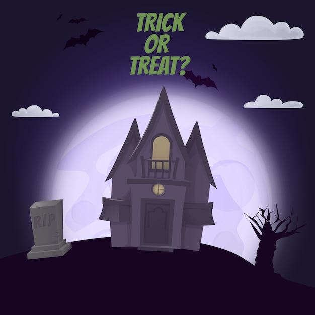 Halloween-vakantie van de de maan de enge verschrikking van de kasteelnacht. Premium Vector