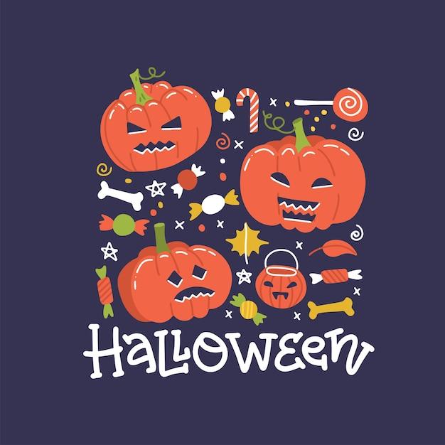 Halloween-vakantie vierkant bannerontwerp met snoep en pompoenen. vlakke afbeelding met hand getrokken belettering. Premium Vector