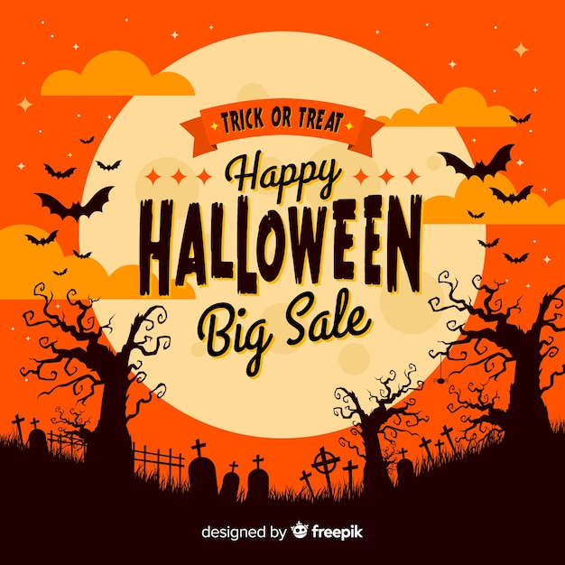 Halloween verkoop achtergrond Gratis Vector