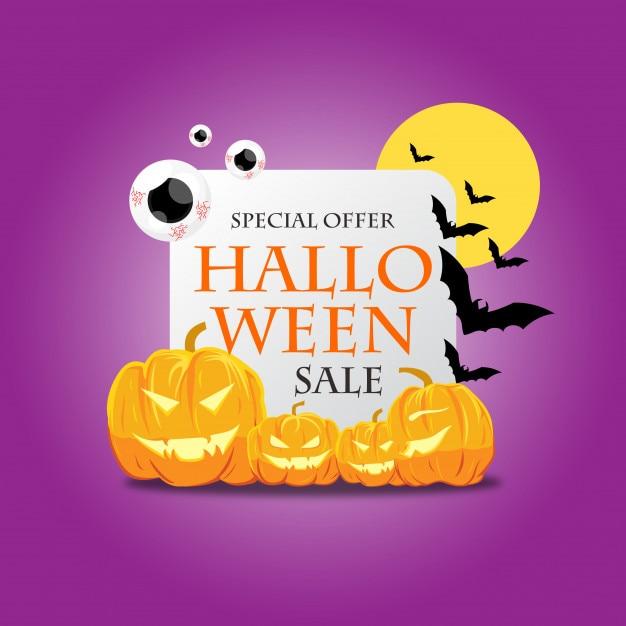 Halloween-verkoop en kortingsaffiche voor promo Premium Vector