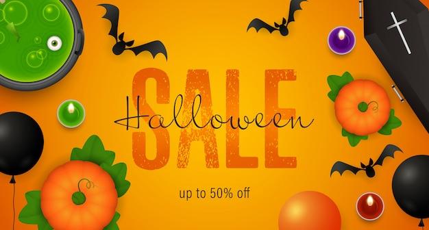 Halloween-verkoop het van letters voorzien, ketel met drankje, doodskist Gratis Vector