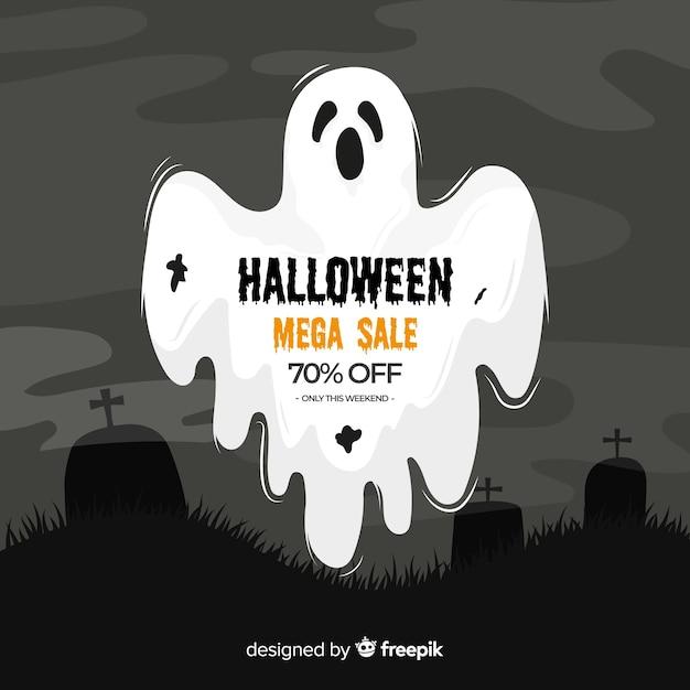 Halloween verkoop op platte ontwerp Gratis Vector