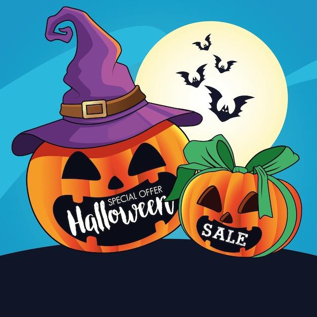 Halloween-verkoop seizoengebonden affiche met pompoenen die heksenhoed en vleermuizen het vliegen dragen Premium Vector