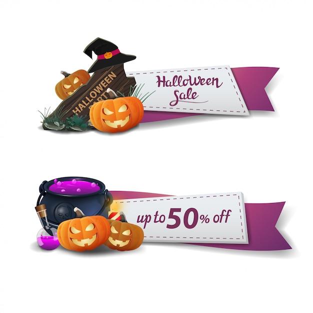 Halloween-verkoop, twee kortingsbanners in de vorm van linten Premium Vector