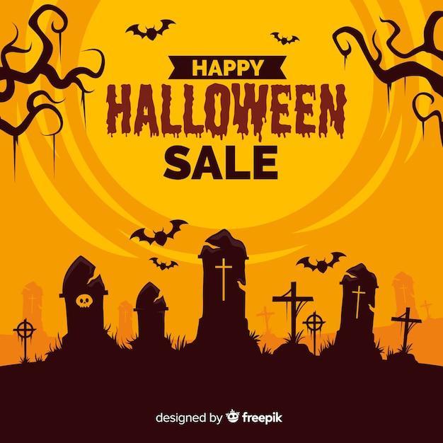 Halloween-verkoop vlakke stijl als achtergrond Gratis Vector