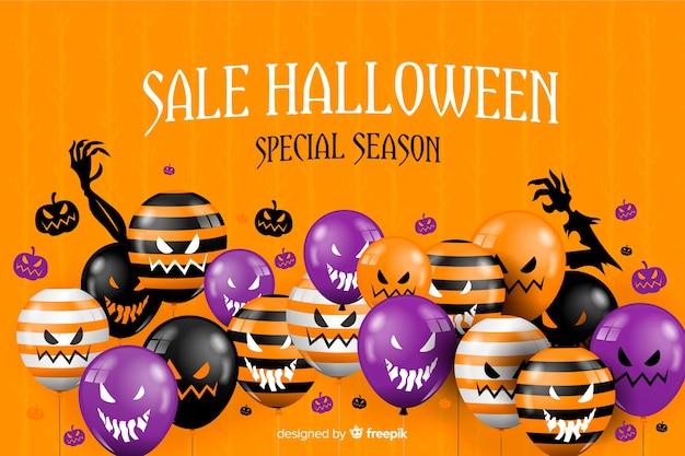 Halloween-verkoopachtergrond en enge ballons Gratis Vector
