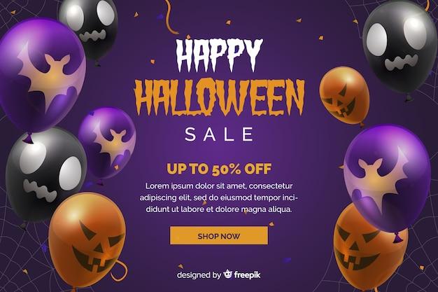 Halloween-verkoopachtergrond met ballons Gratis Vector