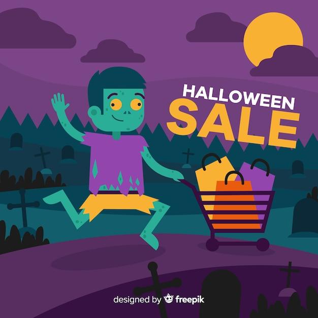 Halloween-verkoopachtergrond met zombiekind Gratis Vector