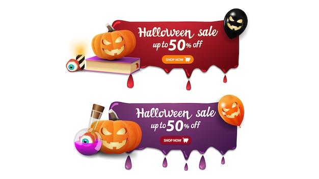 Halloween-verkoopbanner, twee banners met druppels, spellboek, pompoen jack en toverdrank Premium Vector