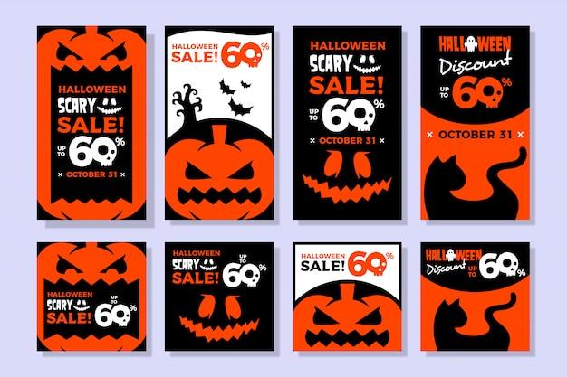 Halloween verkoopbanner voor instagramverhaal en voedingsmalplaatje Premium Vector