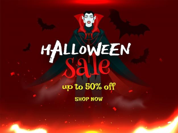 Halloween-verkoopbanner. Premium Vector