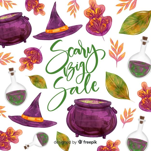 Halloween-verkoopconcept in waterverf Gratis Vector