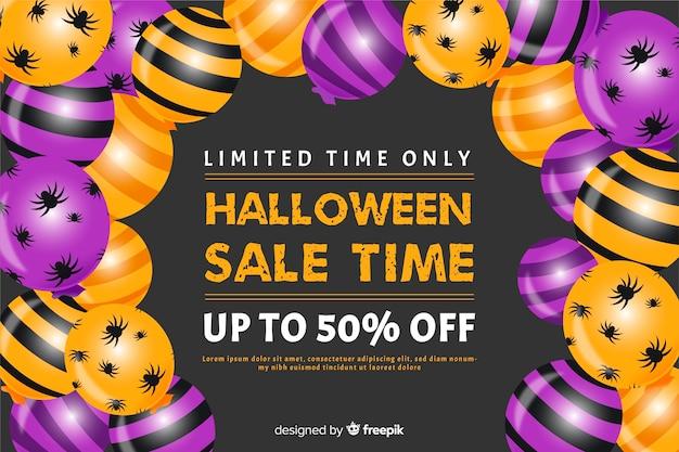 Halloween-verkoopconcept met vlakke ontwerpachtergrond Gratis Vector