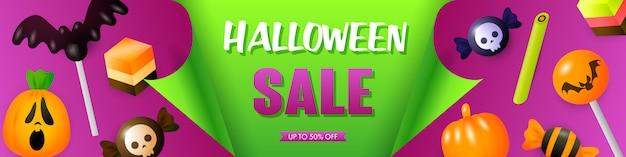 Halloween-verkoopmalplaatje met feestelijke traktaties Gratis Vector