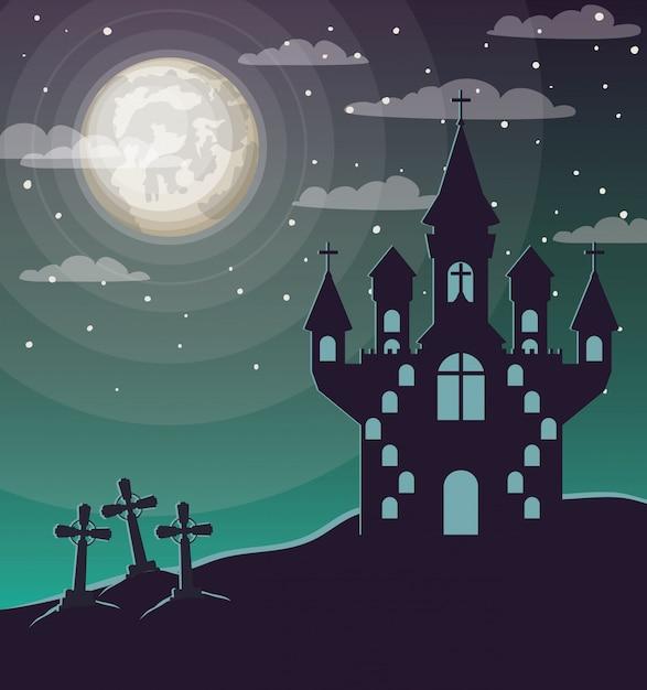 Halloween-viering cwith begraafplaats en kasteelscène Premium Vector