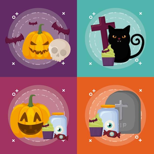 Halloween-viering instellen Gratis Vector