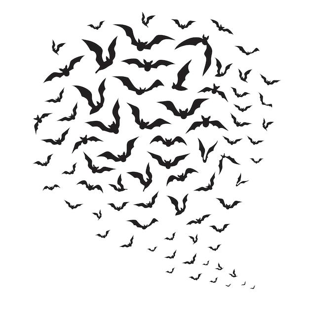 Halloween vliegende vleermuizen. zwerm vleermuissilhouetten in hemel. griezelige halloween-decoratie van batman Premium Vector
