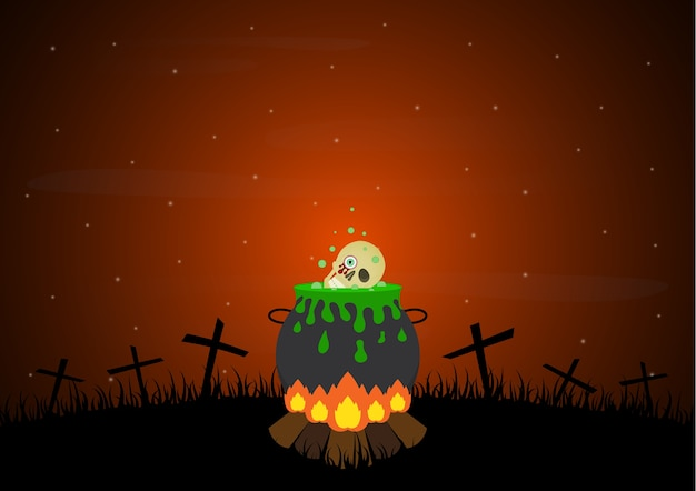 Halloween Kruis.Halloween Vreugdevuur Kerkhof Heks Ketel Schedel Kruis
