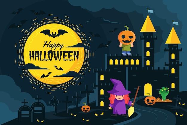Halloween wallpaper met heks = Gratis Vector
