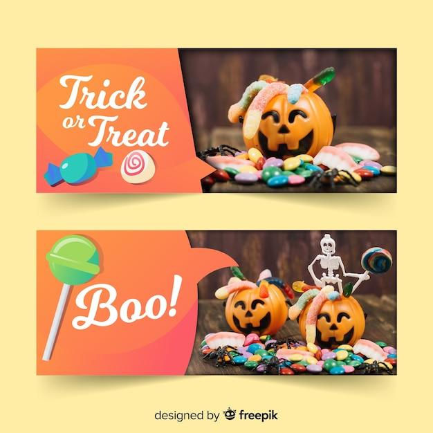 Halloween-webbannerinzameling met realistisch ontwerp Gratis Vector