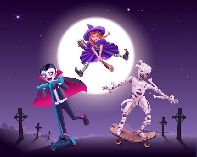 Halloween zombie-feest. vampier, heks en mummie haasten zich naar maskerade. cartoon illustratie Premium Vector