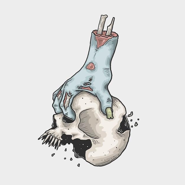 Halloween-zombiehand brengt een schedelillustratie Premium Vector