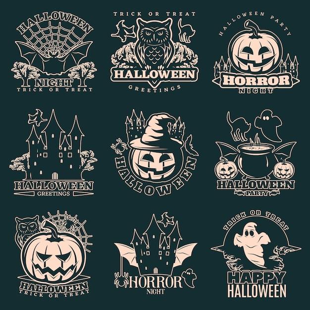 Halloween zwart-wit embleem set Gratis Vector
