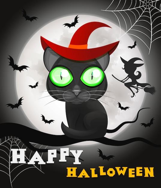 Halloween zwarte kat Premium Vector
