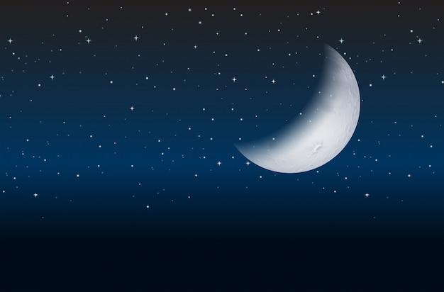 Halve maan aan hemel Gratis Vector
