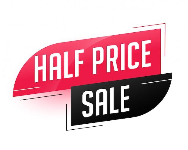 Halve prijs verkoop abstracte sjabloon Gratis Vector