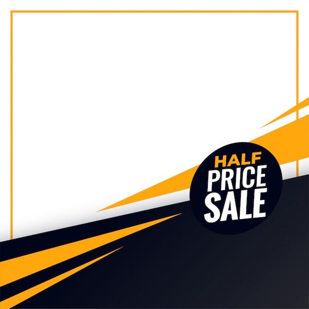 Halve prijs verkoop achtergrond met tekst ruimte Gratis Vector