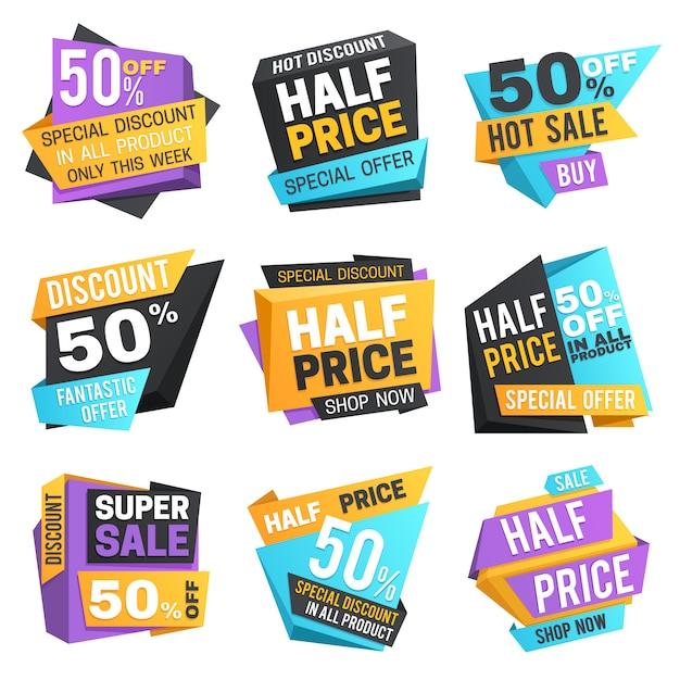 Halve prijsetiketten. super 50 korting op kortingstagetags. ingesteld Premium Vector