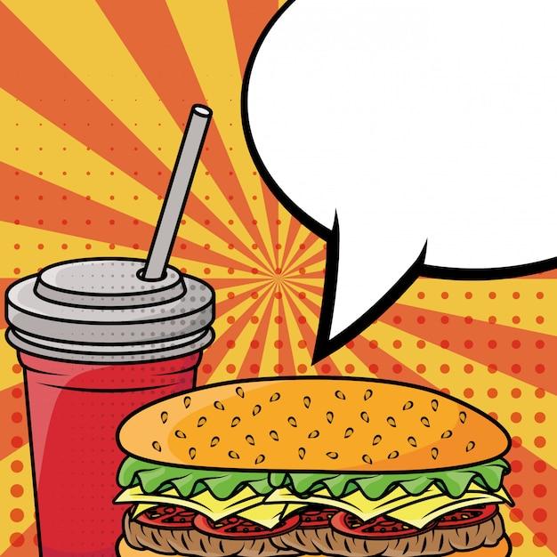 Hamburger en frisdrank fastfood pop-art stijl Gratis Vector
