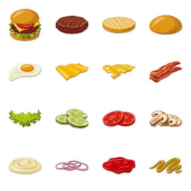 Hamburger en sandwich pictogram. stel hamburger en plak stock symbool. Premium Vector