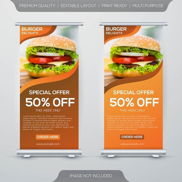 Hamburger eten staan banner ontwerp Premium Vector