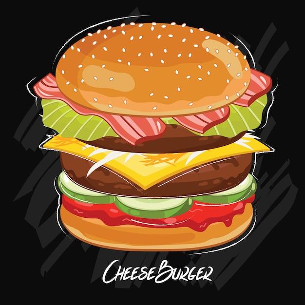 Hamburger geïsoleerd op zwart Premium Vector