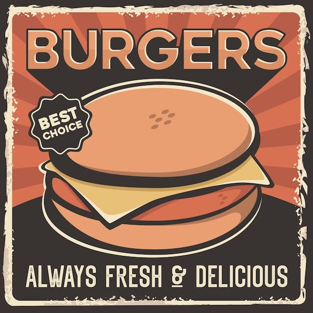 Hamburger hamburger rundvlees varkensvlees kaas signage poster retro rustiek Premium Vector