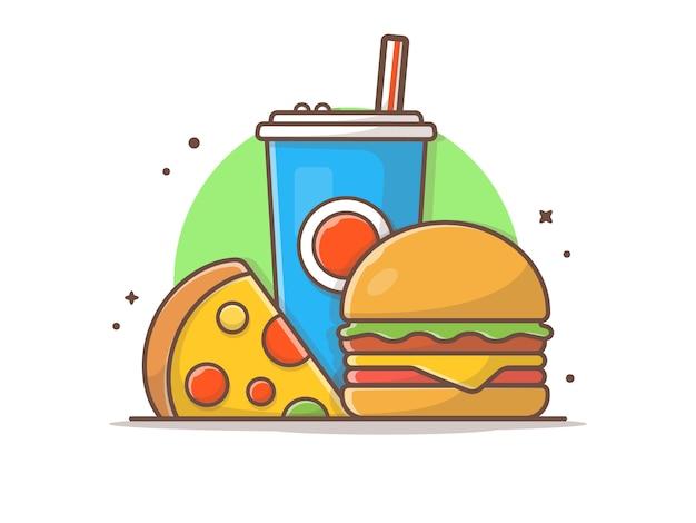 Hamburger illustraties met plak van pizza en frisdrank vector illustraties illustratie Premium Vector