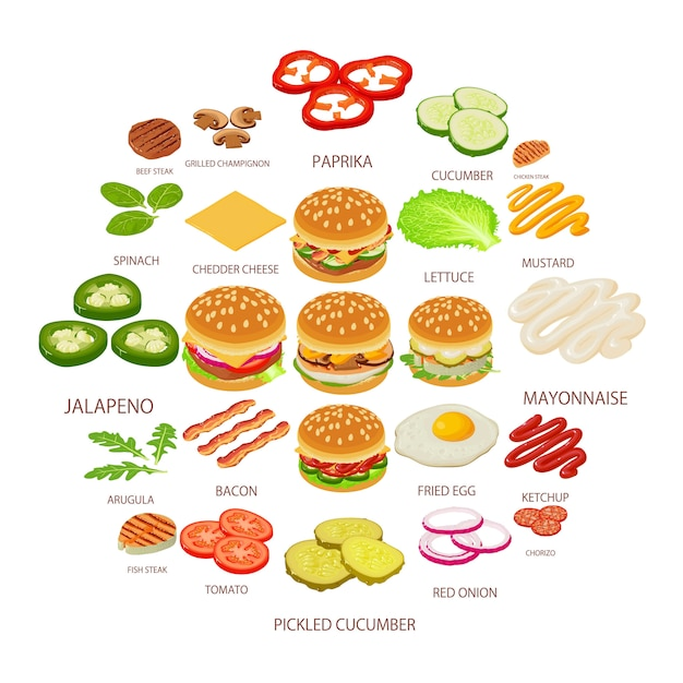 Hamburger ingrediënt iconen set, isometrische stijl Premium Vector