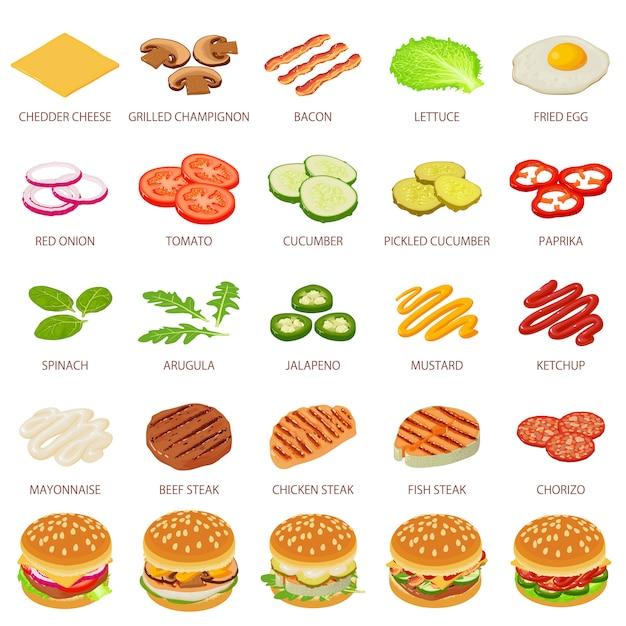 Hamburger ingrediënt pictogrammen instellen. isometrische illustratie van 25 hamburger voedsel vector iconen voor web Premium Vector