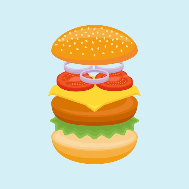 Hamburger ingrediënten. broodje, rundvlees, kaas, sla, tomaat en ui. Premium Vector