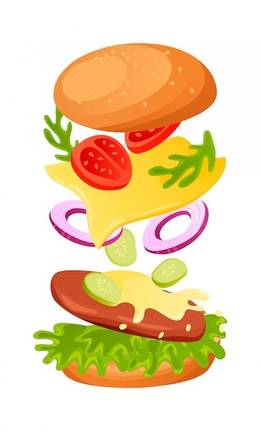 Hamburger ingrediënten Premium Vector
