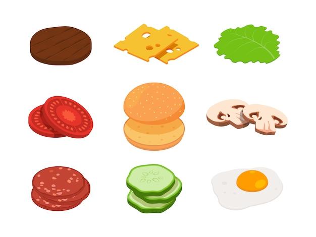 Hamburger isometrisch. aannemersburger met verschillende ingrediënten Premium Vector