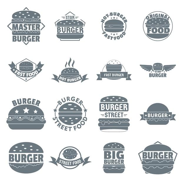 Hamburger logo iconen set Premium Vector